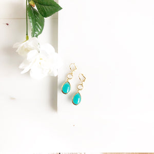 Gold Bridesmaid Earring in Aqua and Clear.