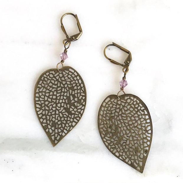 Antique Copper Bronze, Gold, or Silver Leaf Dangle Earrings with Crystal Accent