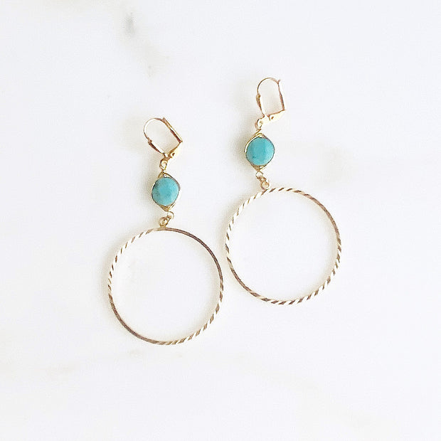 Gold Hoops with Turquoise Wire Wrapped Stones. Big Gold and Turquoise Earrings