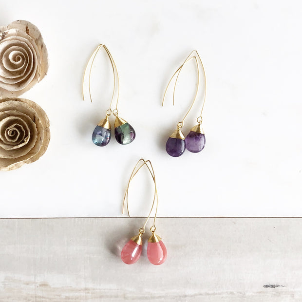 Colorful Teardrop Earrings. Amethyst Rainbow Flourite and Strawberry Quartz. Marquise Drop Earrings,