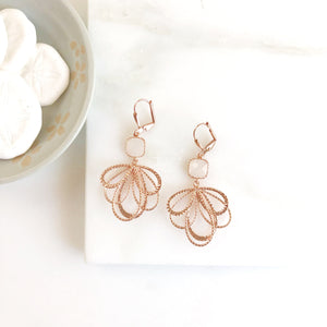 Colorful Dangle Earrings in Rose Gold. Multiple Loop Drop earrings. Rose Gold Dangle Earrings. Jewelry gift. Bridesmaids earrings.