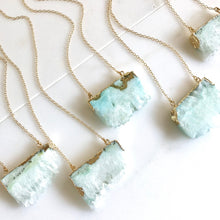 Load image into Gallery viewer, Aqua Druzy Necklace. Geode Crystal Necklace in Gold.