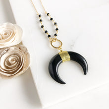 Load image into Gallery viewer, Black Crescent Necklace. Black Necklace. Long Necklace. Gold Necklace. Jewelry. Gift.