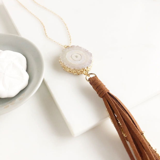 Boho Tassel Necklace. Brown Tassel Necklace and Grey Solar Quartz. Long Necklace. Boho Style.