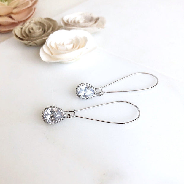 Simple Silver Bridal Drop Earrings. Cubic Zirconia Drops. Elegant Dangle Earrings