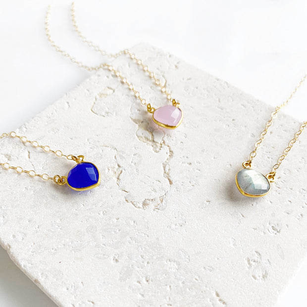 Dainty Heart Necklace in Gold. Simple Gemstone Valentines Necklace