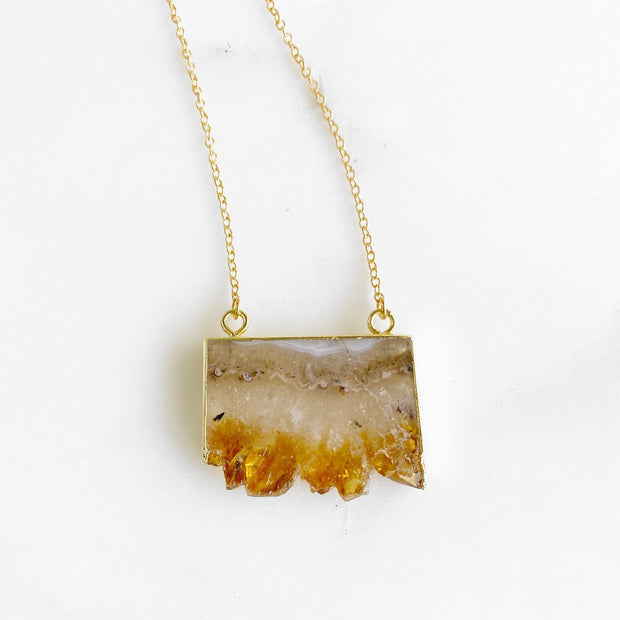 Citrine Slice Druzy Necklace in Gold. Geode Druzy Jewelry. Natural Stone Necklace