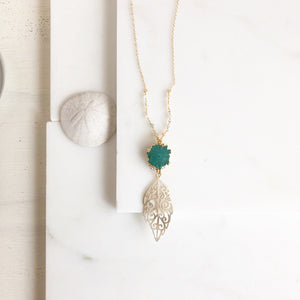 Long Gold Pendant Necklace with Green Solar Quartz and Moonstone Beaded Chain in Gold.