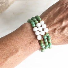 Load image into Gallery viewer, Set of Three Beaded Stretch Bracelets. Boho Beaded Bracelet. White and Green Beaded Stacking Bracelet. Holiday Gift. Christmas Gift.