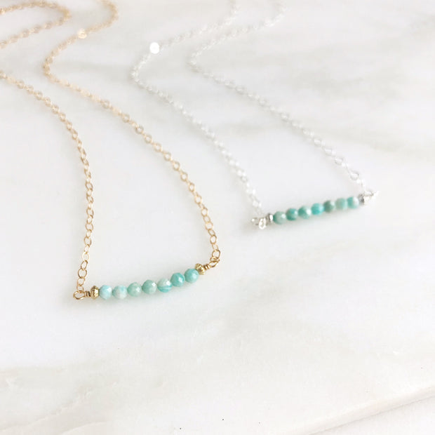 Amazonite Beaded Bar Necklace. Gold Filled or Sterling Silver