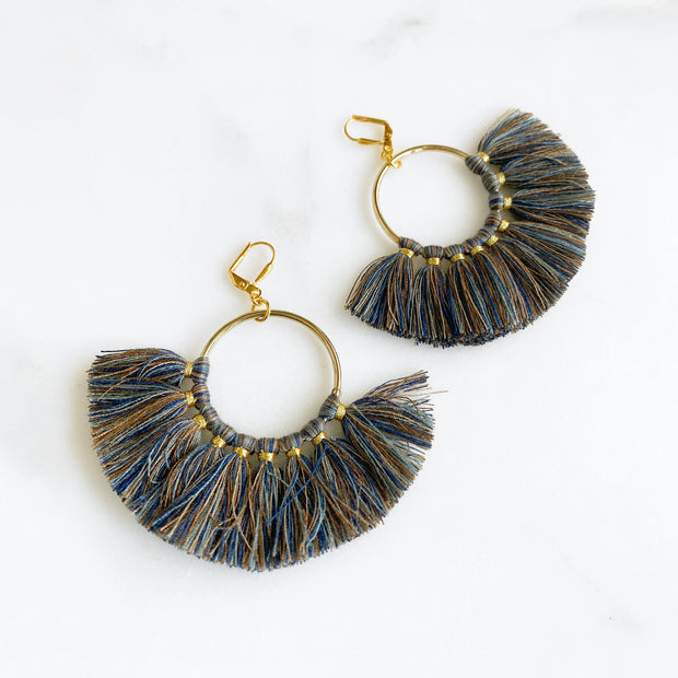 Fan Tassel Earrings in Fall Colors. Brown Blue Tassel Statement Fall Earrings