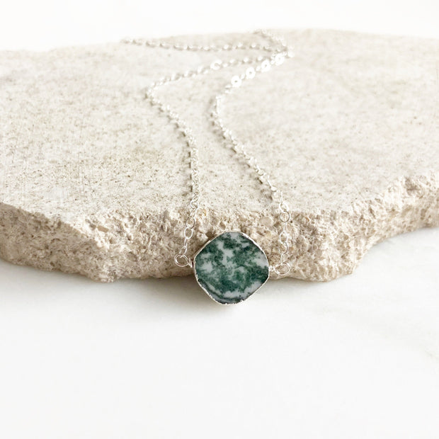 Gemstone Slice Choker Necklace in Sterling Silver. Tree Agate Necklace. Choker. Layering Jewelry.