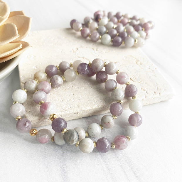 Purple Stone Stretch Beaded Bracelet. Stretchy Stacking Bracelets with Gold Accents and Unique Stones