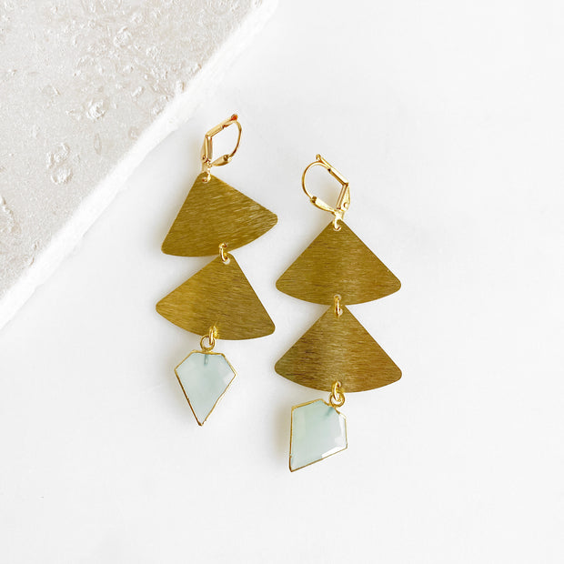 Long Dangle Earrings with Aquamarine Shield in Gold. Brushed Brass Geometric Earrings