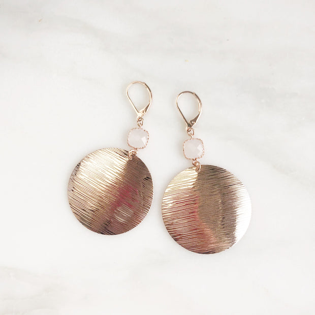 Rose Gold Disc Statement Earrings with Cloudy White Glass Stones