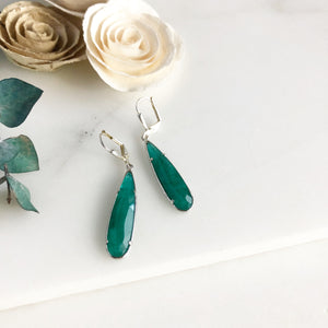 Emerald Teal Teardrop Earrings in Silver.