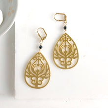 Load image into Gallery viewer, Gold Teardrop Earrings with Black Crystals. Gold Chandelier Earrings. Jewelry. Gift.