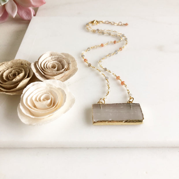 Selenite and Moonstone Necklace in Gold