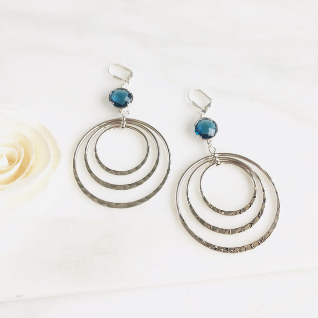 Silver Statement Earrings with Sapphire Blue Stones. Multiple Hoop Statement Earrings
