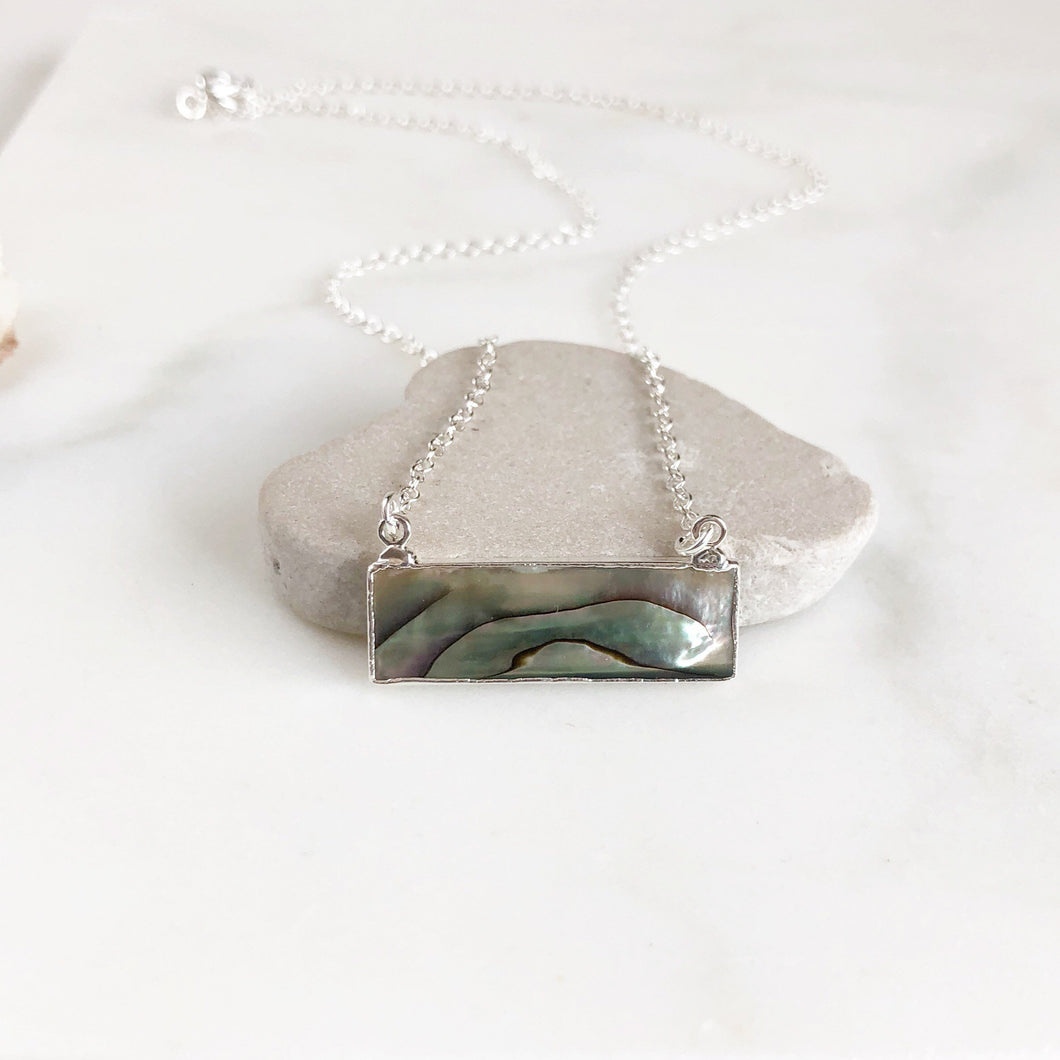 Abalone Bar Necklace in Sterling Silver. Shell Pendant Necklace. Layering Necklace. Bar Necklace. Jewelry Gift.