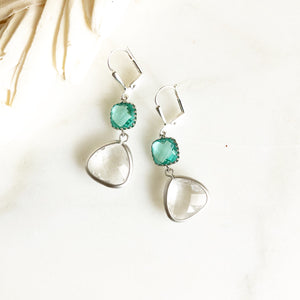 Silver Crystal and Aquamarine Dangle Earrings. Jewel Drop Earrings in Silver. Bridesmaid Dangle Earrings. Jewelry Gift.