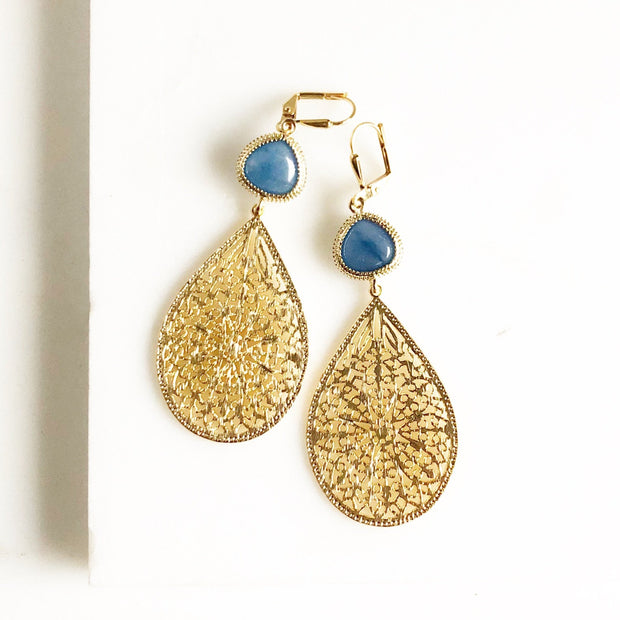 Gold Chandelier Earrings. Filigree Teardrop Stone Earrings