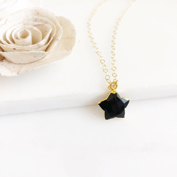 Black Star Necklace. Black Onyx Star Necklace. Black Necklace. Simple Necklace. Layering Necklace.