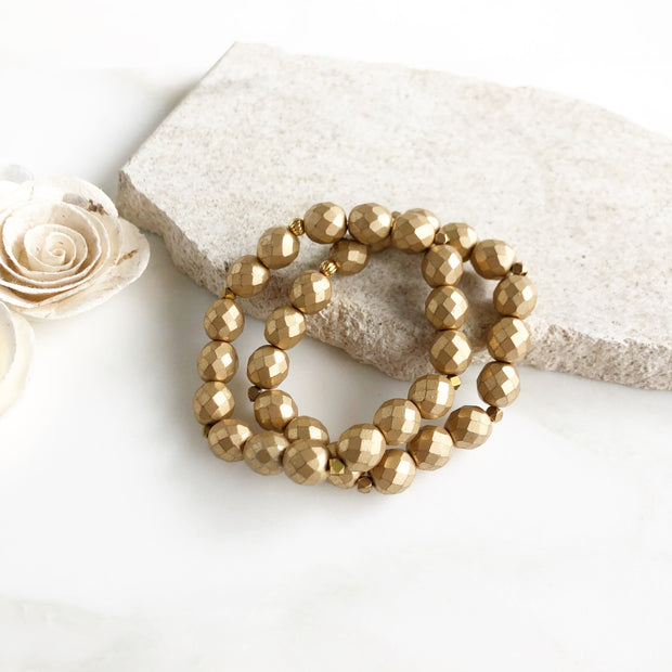 Large Gold Stacked Bracelets. Gold Beaded Bracelets. Czech Glass Beaded Bracelets. Set of Bracelets.