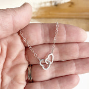 Double Heart Necklace in Sterling Silver. Simple Lovely Necklace. Valentines Day Gift