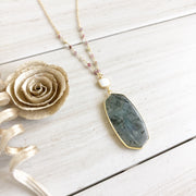 Long Gold Necklace. Labradorite Stone Pendant Necklace with White Stone and Strawberry Quartz Accent