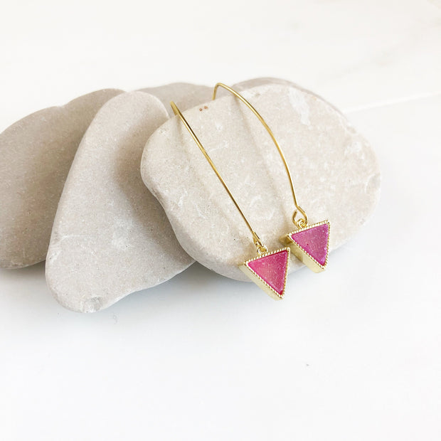 Druzy Triangle Drop Earrings. Pink Sage or Aqua Triangle Druzy Dangles. Gold Druzy Earrings. Gift. Drop Earrings. Gift.