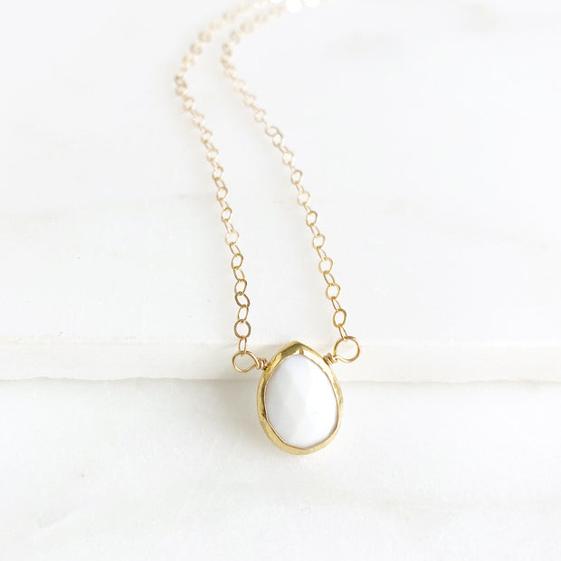 Dainty White Stone Teardrop Necklace. Sweet Tiny Milky White Quartz Necklace in Gold