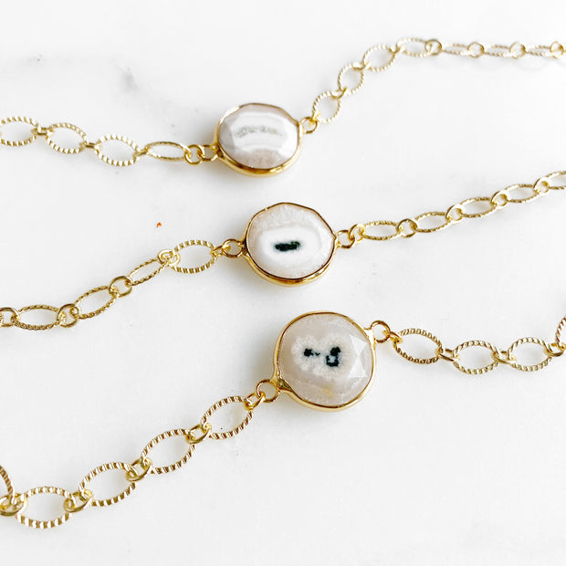Solar Quartz Chain Bracelets in Gold. Simple Gemstone Chunky Gold Chain Bracelet
