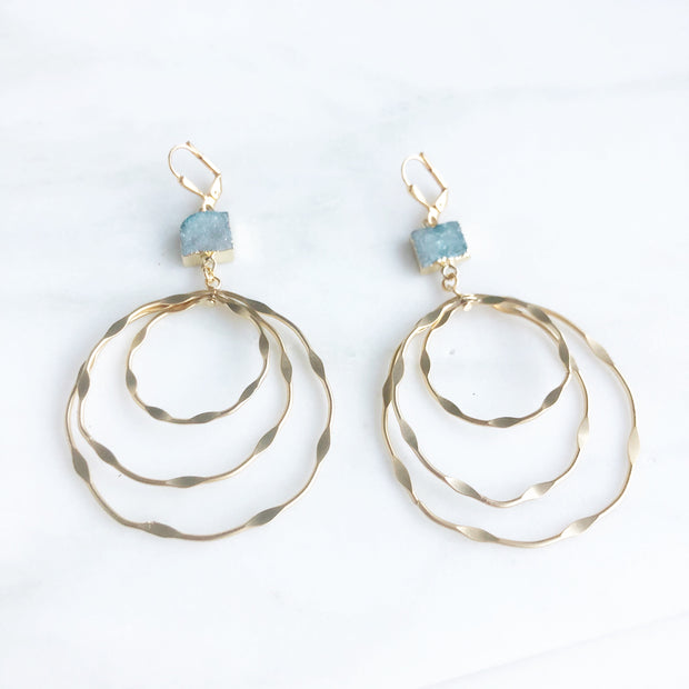 Super Big Multiple Hoop Earrings with Teal and Blue Druzy Stones. Druzy Statement Earrings