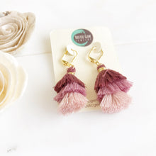 Load image into Gallery viewer, Cute Puffy Dangle Earrings in Shades of Plum. Purple Tassel Earrings. Sweet Jewelry Gift.