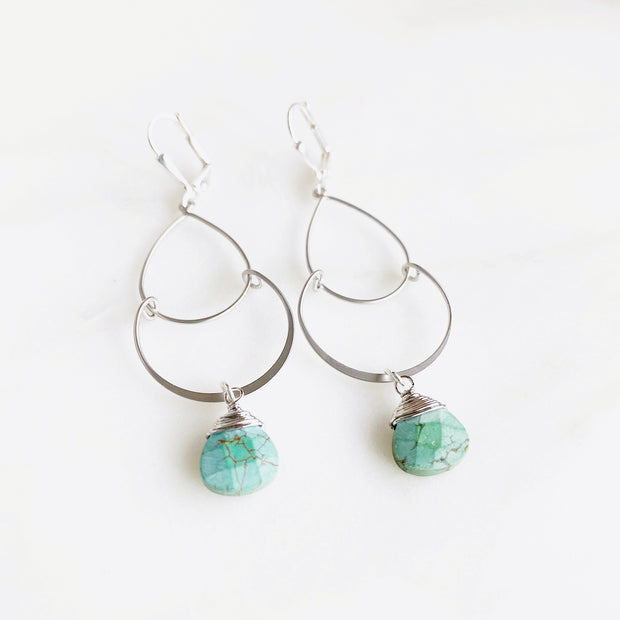 Double Drop Earrings in Turquoise and Silver. Turquoise Fashion Earrings