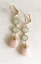 Load image into Gallery viewer, SALE - Pale Peach and Mint Stone Bridesmaid Earrings in Gold. Dangle Earrings. Bridesmaid Jewelry. Spring Wedding Jewelry.
