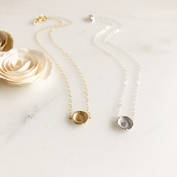 Cubic Zirconia Accent Disk Necklace. Layering Necklaces. Silver and Gold Layering Jewelry.