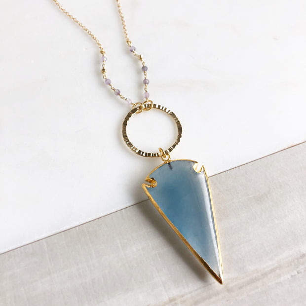 Long Blue Stone Arrowhead Necklace with Ring and Lavender Purple Beading.