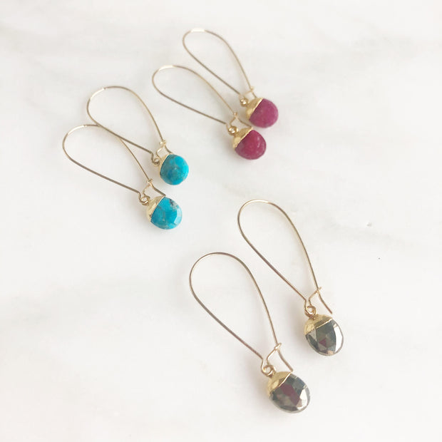 Drop Earrings with Tiny Gemstone Teardrops