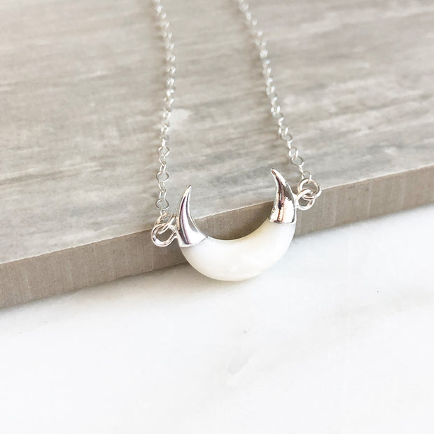 White Crescent Necklace in Silver. White Moon Layering Necklace. White Stone Jewelry