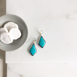 SALE Turquoise Kite Shield Earrings in Silver.