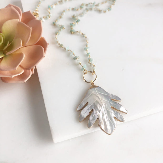 Long Mother of Pearl Leaf and Amazonite Beaded Chain Necklace in Gold.