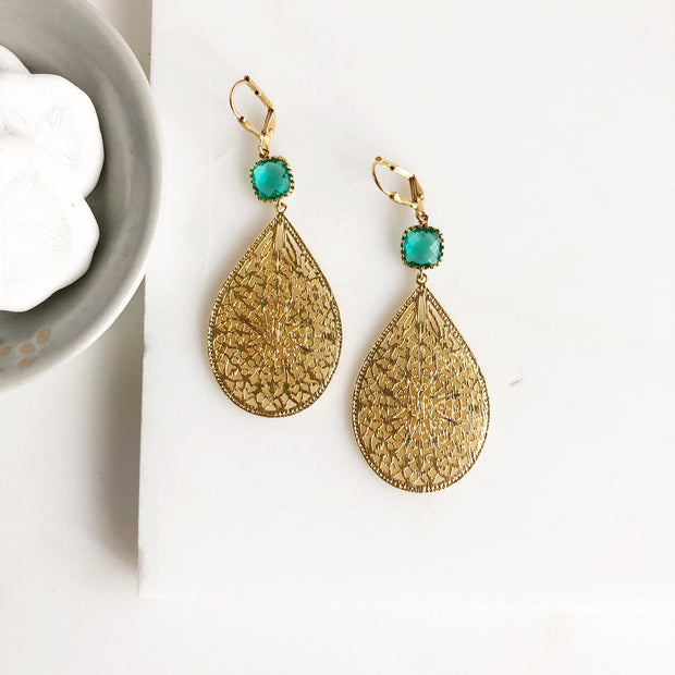 Gold and Aquamarine Statement Earrings. Chandelier Earrings Aquamarine Stones. Teardrop Earrings.