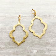 Geometric Quatrefoil Brushed Brass Statement Earrings in Gold. Gold Statement Dangle Earrings