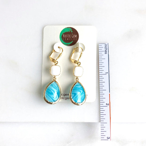 Turquoise Swirl and White Stone Dangle Earrings in Gold
