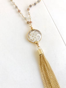 Mother of Pearl Tassel Necklace in Gold. Fancy Tassel Necklace. Dressy Jewelry. Long Chain Tassel Necklace in Gold.