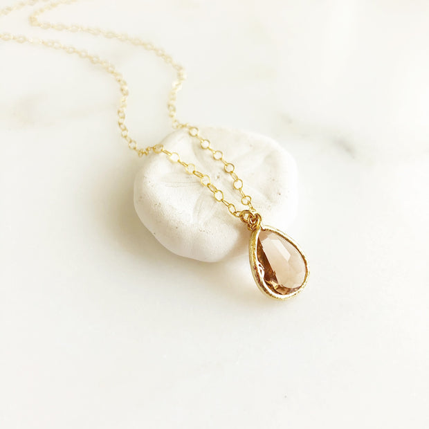 Gold Champagne Glass Teardrop Necklace. Bridal Jewelry Bridesmaids Gifts.
