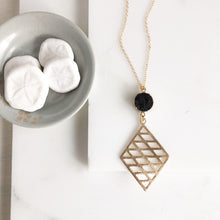 Load image into Gallery viewer, Long Black Druzy Necklace with Gold Diamond Pendant. Long Black Bohemian Necklace in Gold