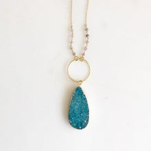 Load image into Gallery viewer, Long Teal Druzy Necklace. Teal Druzy and Strawberry Quartz Stone Necklace with Beaded Chain.